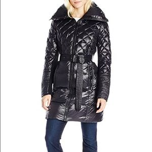 BCBG Quilted Down Belted Puffer Coat